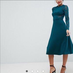 Forest Green ASOS long sleeve dress